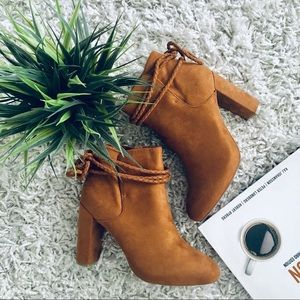 Brown ankle booties with chunky heel